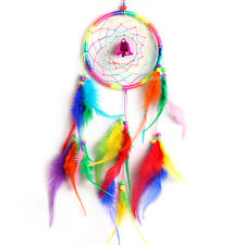 Feather Circle Bell Dream Catcher Wall Hanging Decoration Ornament Rainbow color