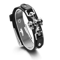 Women Men Skeleton Skull Gothic Punk Leather Belt Buckle Cross Bracelet Bangle