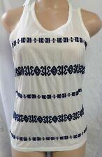 """""""ann Taylor Loft"""" White/blue Embroidery Front Boho Shirt Top Blouse Sze XS"""