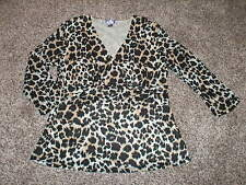 WOMEN'S NINE WEST NINE & CO. V NECK BLOUSE SHIRT - NWOT - SZ L - ANIMAL PRINT