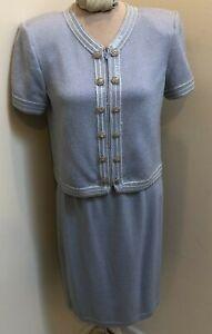 Powder Blue St John Evening Marie Gray Woman's Knit Skirt Suit 4 6