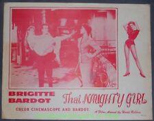 THAT NAUGHTY GIRL LOBBY CARD Size 11x14 MOVIE POSTER Card # 3 BRIGITTE BARDOT
