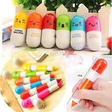 6X Cute Smiling Face Pill Ball Point Pen Telescopic Vitamin Capsule Ballpen AV