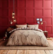 Catherine Lansfield Stag Deer King Size Duvet Cover Set Brown / Beige