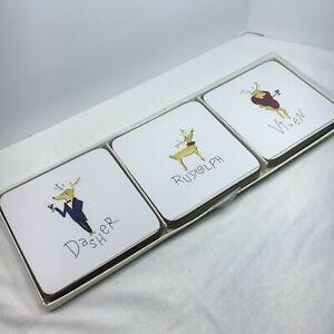 Pottery Barn Pre Owned 9 Reindeer Cork Coasters Original Box