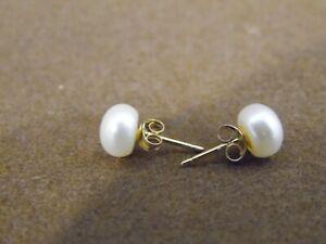 Earrings Fresh Water Pearls 14K gold plated GP studs