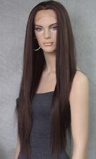 Extra Long Bone Straight Fashion Off Black Lace Front Wig Hair Piece AHI 1B