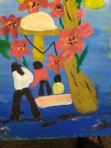 DAY of FLOWER JOY acrlyic 5x7 Original Impressionistic by Becky  Wesbrook