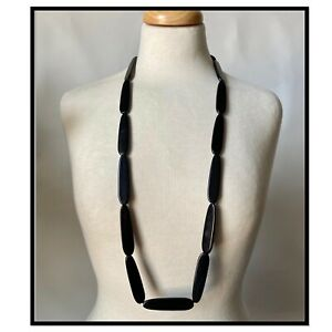 Vintage Black Chunky Plastic Beads Beaded Necklace Mod Go Go 60s