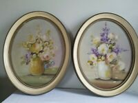 Antique 2 Vtg oil painting on wood Oval Floral Picture frame Wall Decor Shabby C