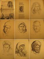 Kunstmappe Dr.med.Kurt Reuber.Menschen des Ostens-15 Kohlezeichnungen 1942