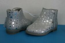 Cat & Jack Toddler Girl Metallic Silver Sparkle Star Design Boots~Size 5~Zip Up