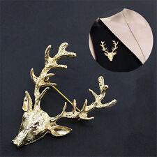 Elk Milu Head Horn Red Deer Hunting Neck Collar Tips Brooch Pin Scottish
