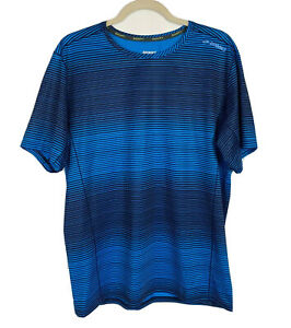 Brooks Ghost Short Sleeve Men's Running T-Shirt Semi-Fitted Blue Striped Size L