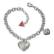 New Guess Jewelry Womens Silver Crystal Charm Ladies Bracelet UBB11210