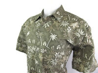 Campia Moda Men Large Hawaiian Tropical Shirt Green Tan Floral Palm