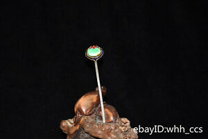 """6.2"""" Chinese old cupronickel Inlaid jade Trace gold Hairpin"""