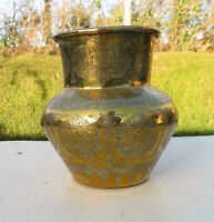 Antique Vintage Middle Eastern Islamic Hand Etched Calligraphy Brass Pot / Vase