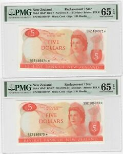 1977 NEW ZEALAND $5 REPLACEMNET CONSECTIVE PAIR P165d PMG 65 EPQ #129-19