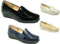 WOMENS LADIES SLIP ON SHOES COMFORT FLAT LOW WEDGE PUMPS LOAFER MOCCASIN SHOE
