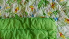 Vintage WINNIE THE POOH Baby Comforter Quilt Green Dot~Crib Nursery Disney 40x47