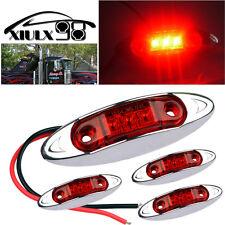 4X 12V Fish Shape Lamp Super Red 3-Led Clearance Side Marker Trailer Van Light