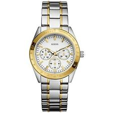 NEW GUESS CHRONOGRAPH 2 TWO TONE SILVER,GOLD S/STEEL WATERPRO WATCH-U12004L1