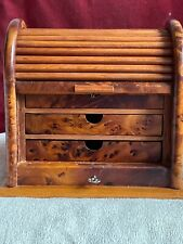 Beautiful Antique Desk Roll Top Miniature/Small Cabinet Three Drawers