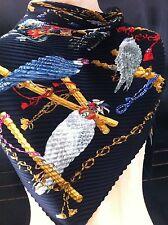 HERMES black multi-color pleated LES OISEAUX DU ROI silk Scarf 50''x50'' in box