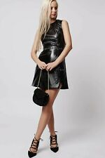 TOPSHOP Faux Patent Leather Black Dress UK 6