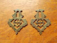 Two Fancy Antique Brass FIligreed Eastlake Victorian Keyhole Plates - c1900