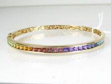 Estate 14k Yellow Gold Hinged Multi Gem Ladies Bangle Bracelet 14.1g eb4372