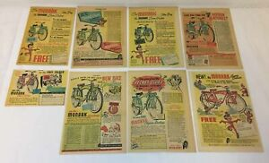 lot of eight 1940's-1950's MONARK BICYCLE ads~Super Deluxe~red,blue,green,yellow