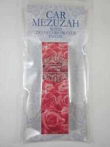 "Car Mezuzah 2.5"" Acrylic PINK ROSES with Travelers Prayer Scroll"