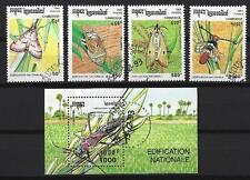 Insectes Cambodge série complète et bloc correspondant oblitérés (1)