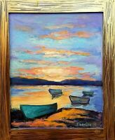 Original Oil Painting Seascape Impressionism Boats in Harbor Sunset on Water Art