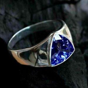 14K White Gold Men's Dazzling Engagement & Wedding Classic Ring 2.13 Ct Sapphire