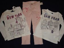 Girls Lot Of 3 PC Clothing Jeans And 2 TS Long Sleeve T-Shirts Size 4, 4-5 NWT