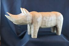 Hand Carved Wooden Rhino Rhinoceros Statue Figurine Paperweight