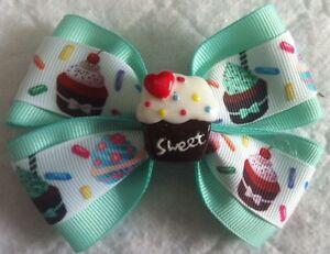 "Girls Hair Bow 4"" Wide Cupcakes Mint Green Grosgrain Ribbon French Barrette"