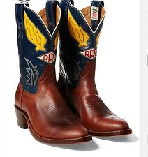 $990 RRL Ralph Lauren Hand Made USA Plainview Cowboy Leather Boots-MEN- 13 D