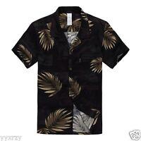 Men Aloha Shirt Cruise Tropical Luau Beach Hawaiian Party Black Gold Leaves