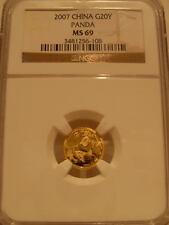 China 2007 Gold 1/20 oz Panda 20 Yuan NGC MS-69
