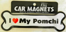 Dog Magnetic Car Decal - Bone Shaped - I Love My Pomchi- Made in USA - 7""