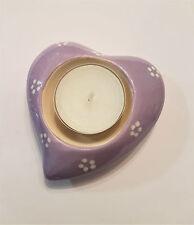 Teelichthalter Herz / Kerzenhalter / Porzellan Herz lila / weiss Liebe Love