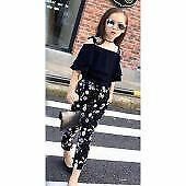 Korean Kids Lyka Bird Floral Print Cotton Chiffon Terno Top & Pants(Navy Blue)
