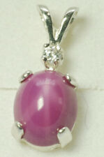 Sterling Silver, Claret Red LINDE STAR SAPPHIRE, ACCENTED  PENDANT