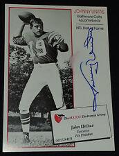 "JOHNNY UNITAS - BALTIMORE COLTS - NFL - ""AUTOGRAPH"" - PROMOTIONAL - PHOTO - CARD"