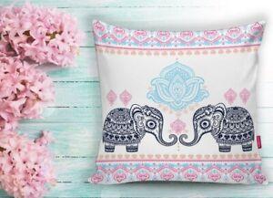 "PRICE DROPPED -- 2 Piece 18""x18"" Decorative Pillow Case- Elephant Namaste Theme"