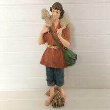 "Large Nativity Shepherd Boy Carrying Lamb Figurine Textured Hand Painted 12"""